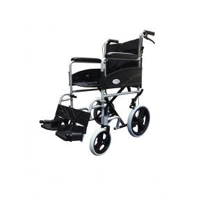 Folding Aluminium Transit Wheelchair With Attendant Handbrakes - Silver