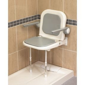 White Extra Wide Shower Seat with Back and Arms - Grey Padded