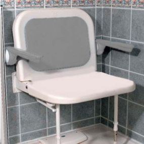 White Extra Wide Shower Seat with Back and Arms - White Unpadded