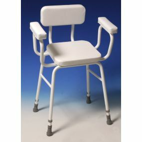 Practical Perching Stool - Padded Seat - Back & Arms (White)