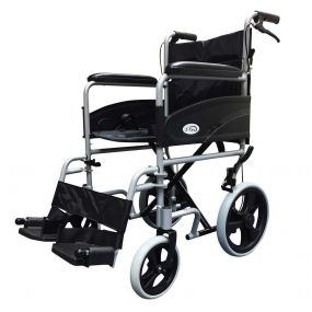 Folding Aluminium Transit Wheelchair - With Attendant Brakes - Silver - 19