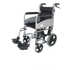 Folding Aluminium Transit Wheelchair With Attendant Handbrakes - Blue