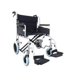 Folding Aluminium Transit Wheelchair - With Attendant Brakes Silver (22