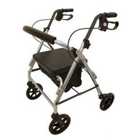 Aluminium Four Wheeled Rollator - Silver