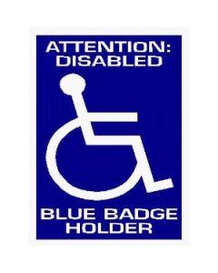Attention: Disabled Blue Badge Holder - Car Sticker 35